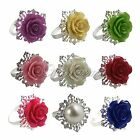 40pcs Wedding Party Banquet Romantic Rose Napkin Rings Dinner Decor Silver Hoops