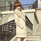 Fashion Women's Slim Winter Warm Coat Long Wool Jacket Fur Collar Outwear + Belt
