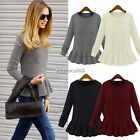 Women Loose Knitted Pullover Sweater Jumper Round Neck Long Sleeve Knitwear Tops