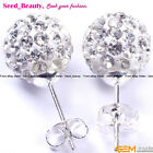 Swarovski White Pave Shining Crystal Ball Silver Plated Stud Earrings,Size Pick