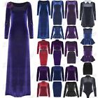 Womens Ladies Velvet Velour 3/4 Sleeve Flared Peplum Mini Bodycon Maxi Dress Top