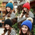 Nice winter hats for women with fur ball Knitted Braided Crochet Beret Caps