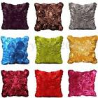 Elegant 3D Ribbon Roses Taffeta Throw Pillow Case Cushion Cover Home Sofa Decor