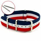 NATO Military Watch Strap Red/White/Blue Striped - Choice of widths FREE Pins