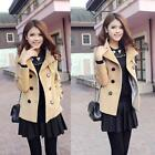 Women Korean Double-Breasted Slim Short Coat Jacket Windbreaker Outwear Blazer I
