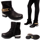 Womens Flat Biker Ankle Boots Buckle Zip Up Gold Chain Winter Ladies Shoes Sizes