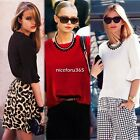 Women Candy Color Tops Celebrity Style Slim Shirt Sequin Peter Pan Collar Blouse