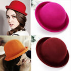 Fashion Fall Winter Woman Lady Vintage Style Woolen Hats Homburg Billycock Caps