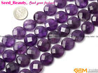 "Pretty Coin Faceted Amethyst Gemstone Jewelry Making Beads Strand 15"" Size Pick"