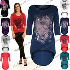 Womens Gothic Skull Glitter Butterfly Ladies Batwing High Low Tunic Blouse Top