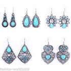 Retro Jewelry Pattern Silver Turquoise Inlay Blue Crystal Dangle Hook Earrings