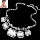 Charm Crystal Gemstone Bib Necklace Choker Chunky Statement Pendant Chain Silver