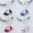 5x Crystal Silver Plated Baseball Cap European Spacer Beads Fit Chain Bracelet