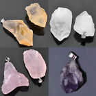 Natural Crystal Quartz Healing Point Chakra Beads Gemstone Pendant Fit Necklace