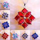 Rainbow & Blue Topaz Ruby Spinel & Sapphire Quartz Gems Silver Pendant Necklace
