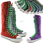 Woman Canvas Mid Calf Tall Boots Casual Sneaker Punk Flat Leaf Green Shoelace