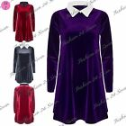 Womens Ladies Velvet Velour Full Sleeves Flared Contrast Collared Swing Dress