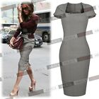 Women's Fashion Gray Business Office Lady Bodycon Slim Fit Career Pencil Dress