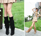 Womens Faux Suede Tassel Stilettos High Heel Hot Stylish Casual Slim Long Boots