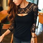 Hot Sell Sexy Women Lady Crew Neck Lace T-shirt Long Sleeve Shirt Tops Blouse CB
