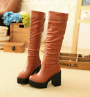 womens knee high boots chunky heel pull on Plus size Gothic Pu leather shoes