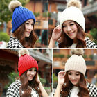 Womens Faux Fur Knitted Bobble Pom Pom Beanie Hat Ladies Slouch Baggy Crochet
