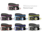 Rhinestone Western Cowgirl Bling Studded Design Suede Leather Belt 1-1/4'(32mm)