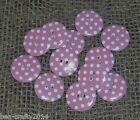 10/25/50 SPOTTY PINK WHITE WOOD BUTTONS # 2 SIZES - 15/25MM #CRAFTS