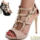 Riemchen Pumps Peep Toe Sandalen Party Damenschuhe Plateau High Heels LUXUS