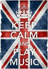 KC32 Vintage Style Union Jack Keep Calm Play Music Funny Poster Print A2/A3/A4