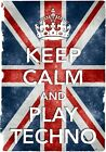 KC36 Vintage Style Union Jack Keep Calm Play Techno Funny Poster Print A2/A3/A4