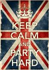 KCV39 Vintage Style Union Jack Keep Calm Party Hard Funny Poster Print A2/A3/A4