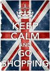 KC40 Vintage Style Union Jack Keep Calm Go Shopping Funny Poster Print A2/A3/A4