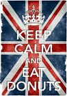 KC43 Vintage Style Union Jack Keep Calm Eat Donuts Funny Poster Print A2/A3/A4