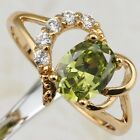 Size 6 7 8 9 Nice Heart Green Peridot Gems Yellow Gold Filled Gift Ring R1920