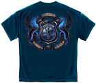 New Navy Blue T-Shirt with Coat of Arms Police Law Enforcement  Design
