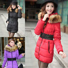Womens Ladies Winter Fur Collar Long Down Jacket Coat P+ Hood Belt UK 8 10 12 14