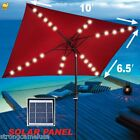 NEW OUTDOOR GARDEN 10'x6.5' SOLAR 26 LED LIGHTS ALUMINIUM PATIO UMBRELLA