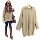 Loose Batwing Womens Hoodie Cape Ponchos Oversize Knitwear Sweater Pullover Q