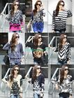 Women Floral Letters Crewneck Long Sleeve Casual Knitted Blouse Loose Tops L XL