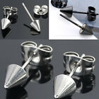 Pair Punk Stainless Steel Spike Rivet Stud Earrings Screw Back Men's Jewelry