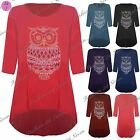 Womens Ladies Studded Owl 3/4 Sleeves Dipped Hem High Low Hi Lo Top Plus Sizes