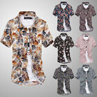 Men's Fashion Summer Floral Casual Short Sleeve Button Up Slim Fit Chic Shirt