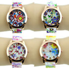 Womens Retro Colorful Flower Print Jelly Silicone Band Sports Quartz Wrist Watch