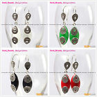 Fashion 14x32mm Marquise Beads Tibetan Silver Dangle Earrings 1 pair Seed_Beauty