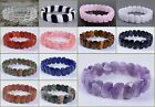 15mm Faceted gemstone beads beaded stretchable elastic bracelet 7""