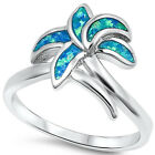 Blue Opal Palm Tree .925 Sterling Silver Ring Sizes 5-10 image