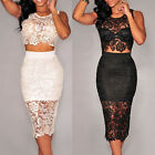 Women's Sexy Floral Lace High-waisted Skirt Set 2 Pieces Bodycon Midi Dress