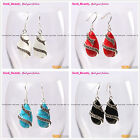 Fashional 14x24mm Drip Beads Tibetan Silver Dangle Earrings 1 Pair Seed_Beauty