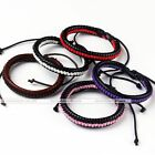 Fashion Cool Punk PU Leather Stripe Weave knitted Adjustable Bracelet Gift New